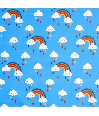 Tela Impermeable Nubes Arco iris Azul