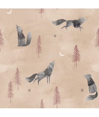 Tela Katia Popelin Wolf Howl Lobos Beige