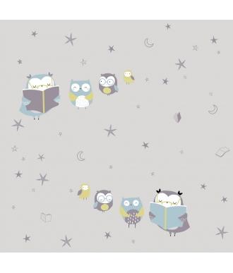 Tela Katia Jersey Reading Owls Buhos Gris