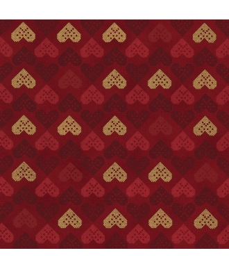 Tela Stof Fabrics Christmas Wonders Corazones Granate