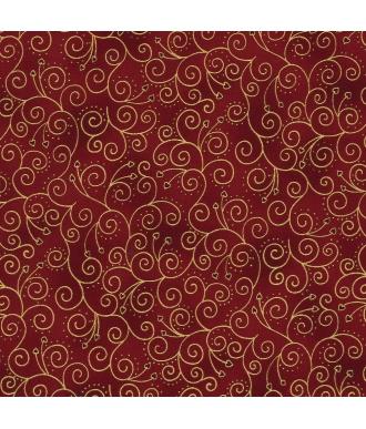 Tela Stof Fabrics Christmas Wonders Espirales Granate
