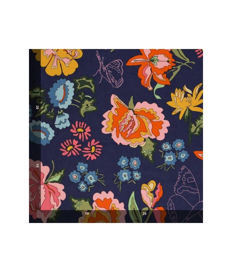 Tela Mez Nordic Garden Dream Stauder Blue Flores Azul