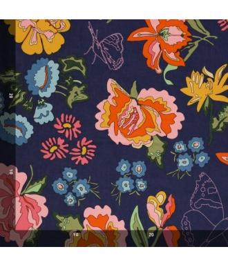 Tela Jersey Mez Nordic Garden Dream Stauder Blue Flores Azul