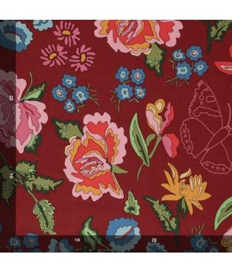 Tela Jersey Mez Nordic Garden Dream Stauder Red Flores Rojo