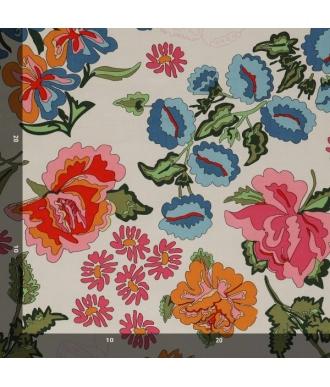 Tela Jersey Mez Nordic Garden Dream Stauder White Flores Blanco