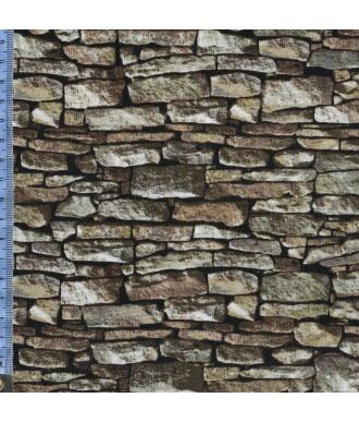 Tela Northcott Naturescapes Muro Piedra Gris