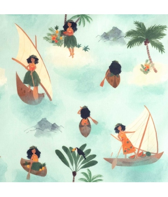 Tela Katia Popelin Polynesian Seafarers Niñas Canoa