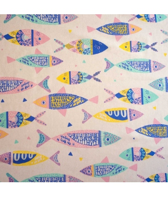 Tela Katia Canvas Colour Fishes Peces Multicolor