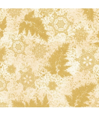 Tela Robert Kaufman Holiday Flourish Metallic 12 Hojas Marfil