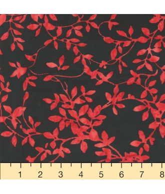 Tela Batik Anthology Beat 340-2 Heart Hojas Rojo Negro