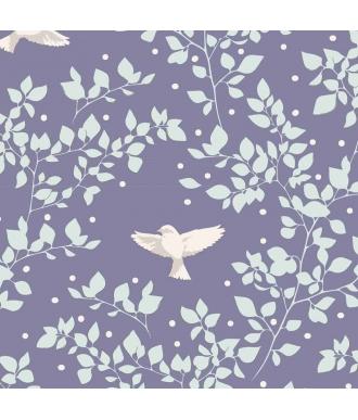 Tela Tilda Maple Birdie Blueberry Pajaros Azul