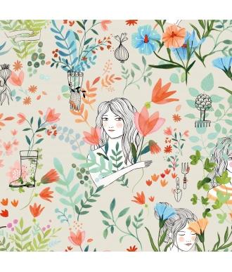 Tela Katia Popelin Garden Flowers