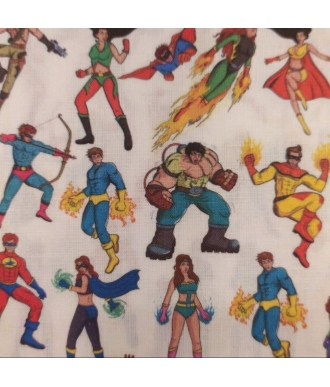 Tela Algodon Hidrofugo Antibacteriano Costura Creativa 109013 Super Heroes