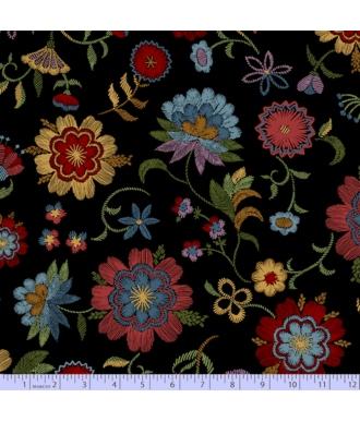 Tela Marcus Fabrics Thread The Needle Flores Negra