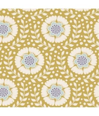 Tela Tilda Maple Farm Wheatflower Dijon Flores Mostaza