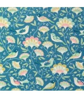 Tela/TILDA/Bird tree blue Azul-Harvest/pajaros