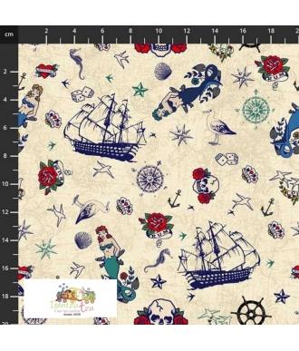 Tela Stof Fabrics My Seven Seas Bird & Boat 4501-587