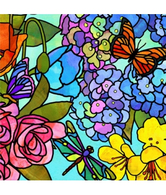 Tela QT Fabrics Stained Glass Garden Stained Glass Floral Multi 28265-X