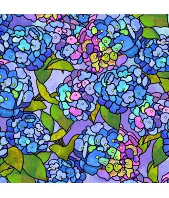 Tela QT Fabrics Stained Glass Garden Hydrangeas 28266-B