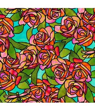 Tela QT Fabrics Stained Glass Garden Roses 28267-Q