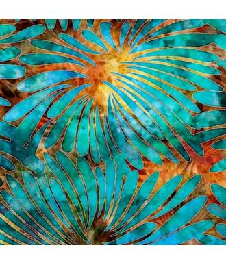 Tela QT Fabrics Tropicalia Large Floral Blue/Turquoise 28188-OQ